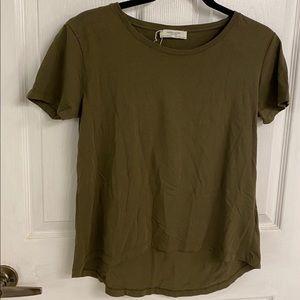 Zara Organic Cotton W&B T-Shirt in Khaki Green